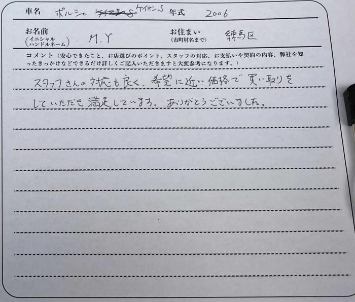 ポルシェケイマンお客様アンケート画像