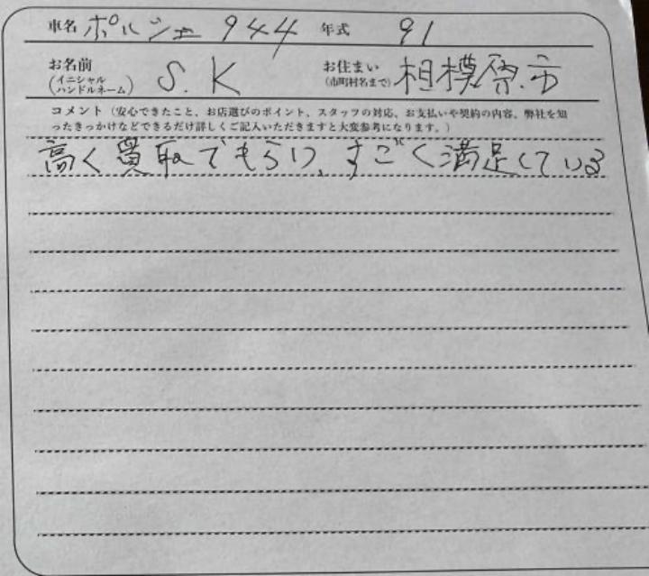 ポルシェ944カブリオレお客様アンケート画像