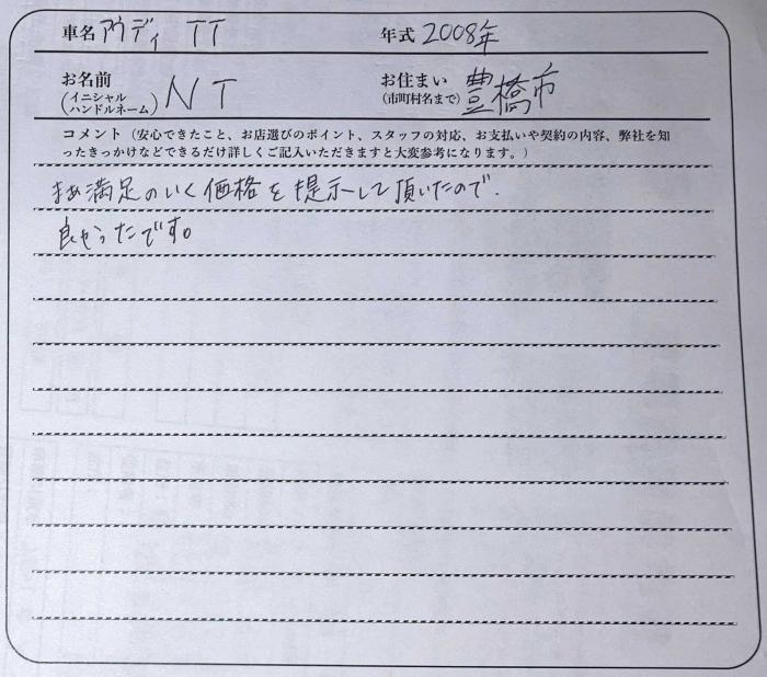 アウディTTお客様アンケート画像
