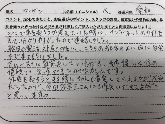 愛知県 20代 男性 K様
