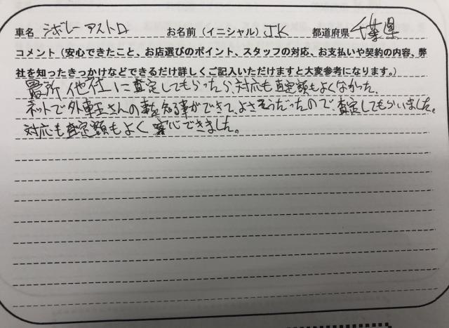 千葉県 40代 男性 JK様