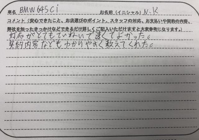 山口県 20代 男性 N.K様